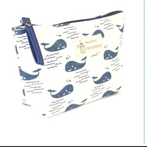Hand-made cosmetic bag with whales white, navy